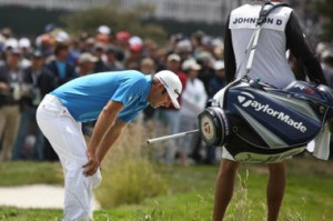 Dustin Johnson deals with dissapointment at the US Open